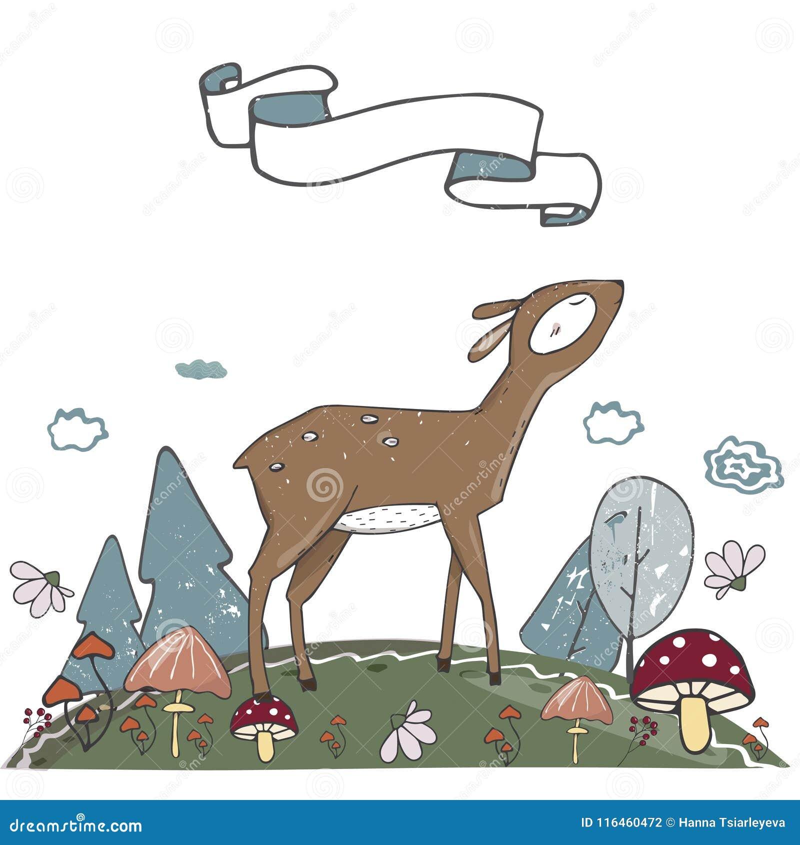 Deer Character Vector Clip Art Landscape Place Land Color