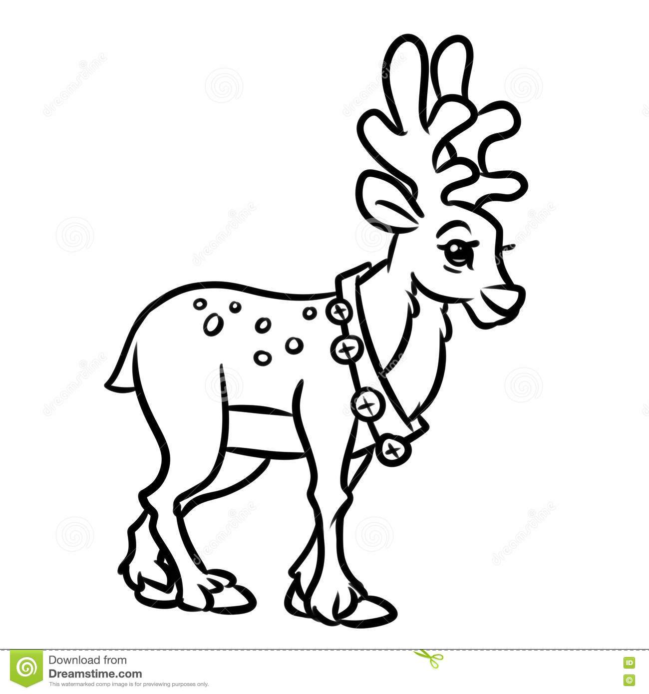 deer christmas coloring pages cartoon