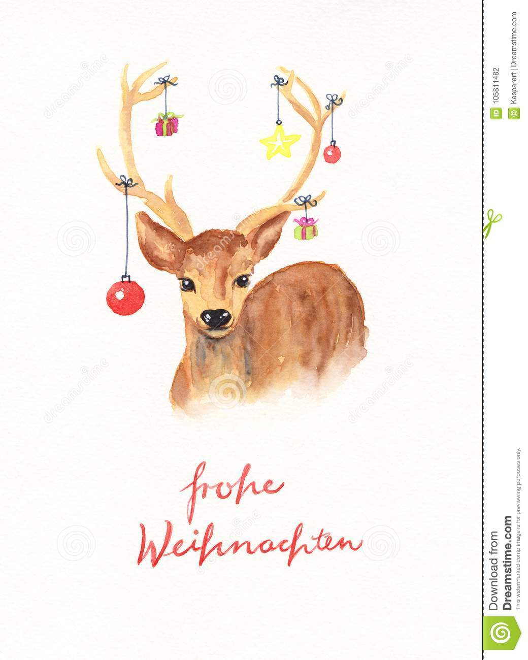 Text Frohe Weihnachten.Deer With Christmas Decoration Watercolor Painting With