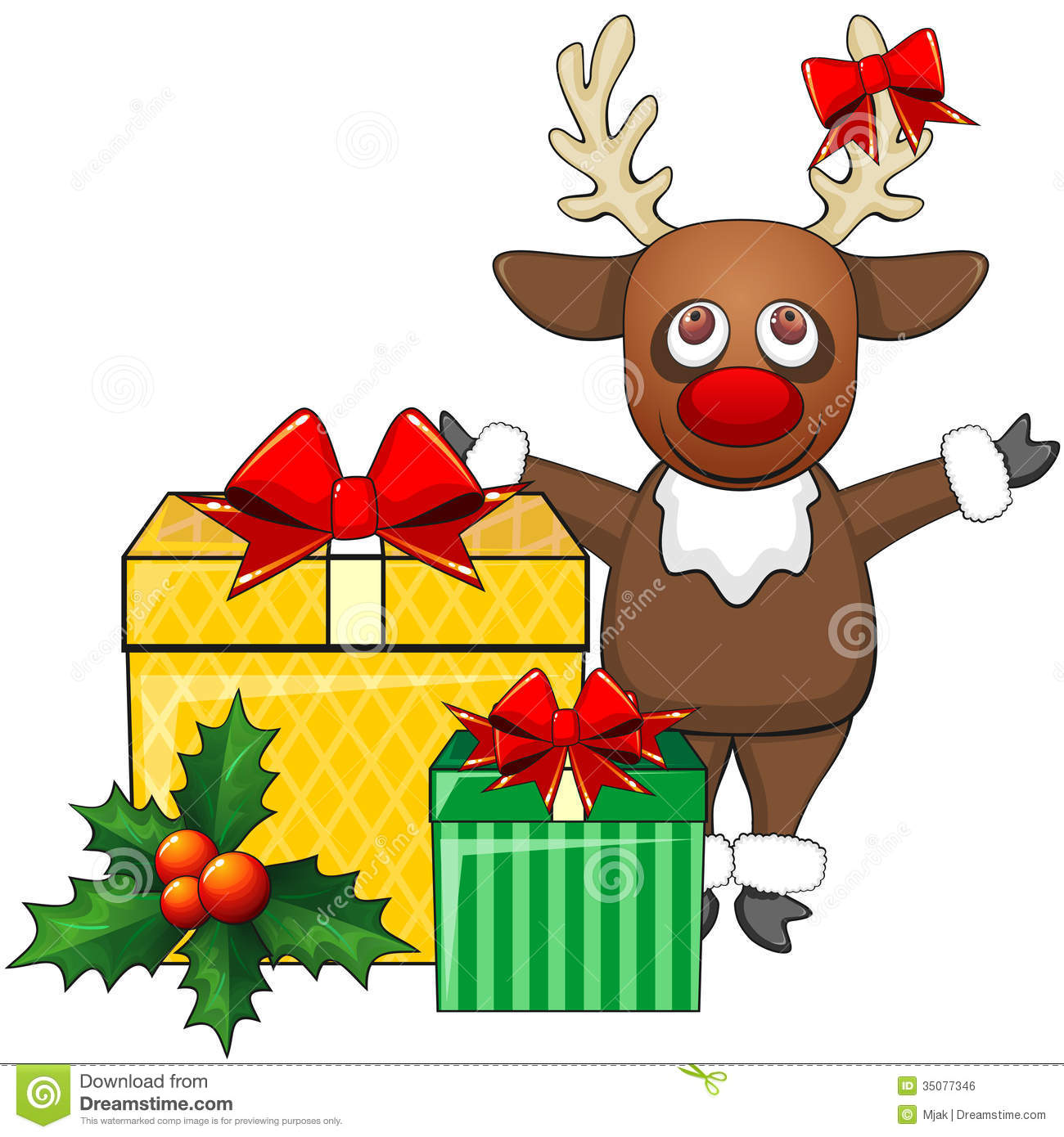 Cartoon Christmas Toys : Deer and christmas gifts stock vector image of present