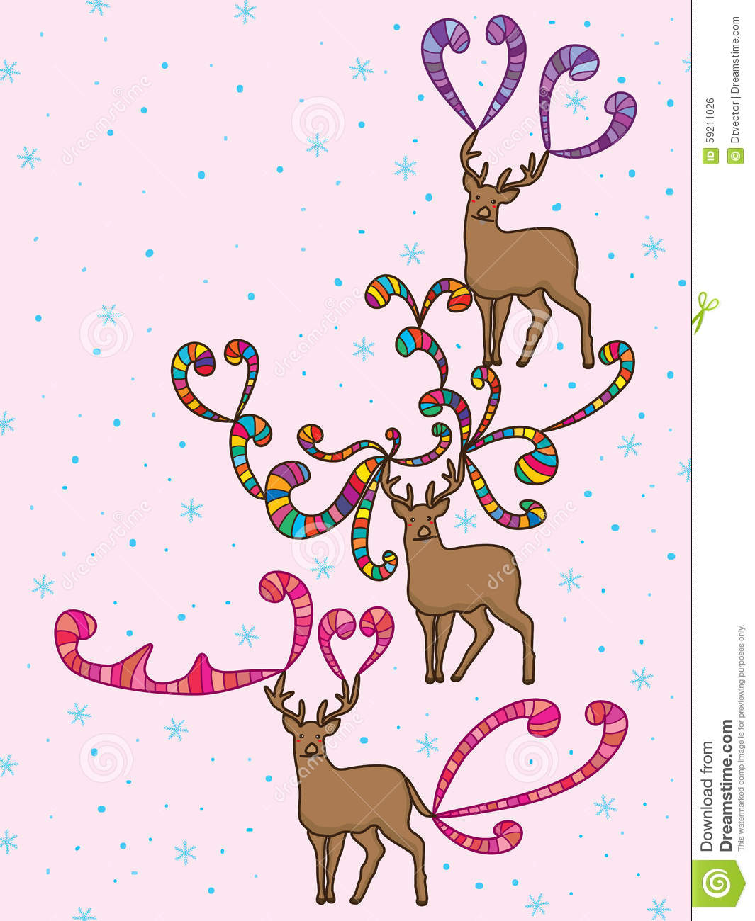 Deer Colorful Card Snowflake Stock Vector Illustration Of Banner