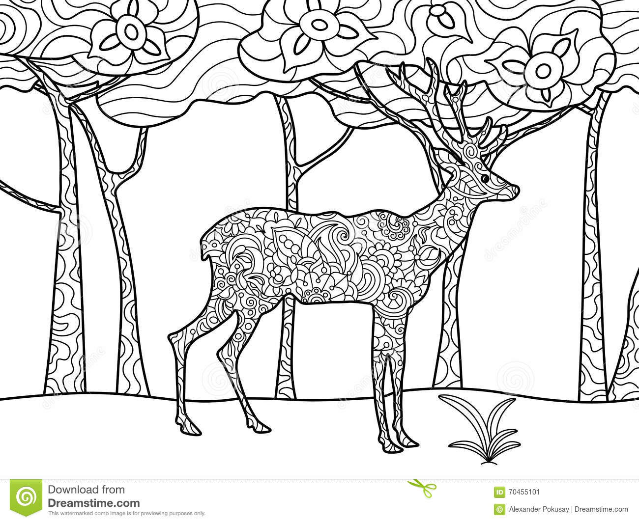 Deer Coloring Book For Adults Raster Stock Vector - Image ...