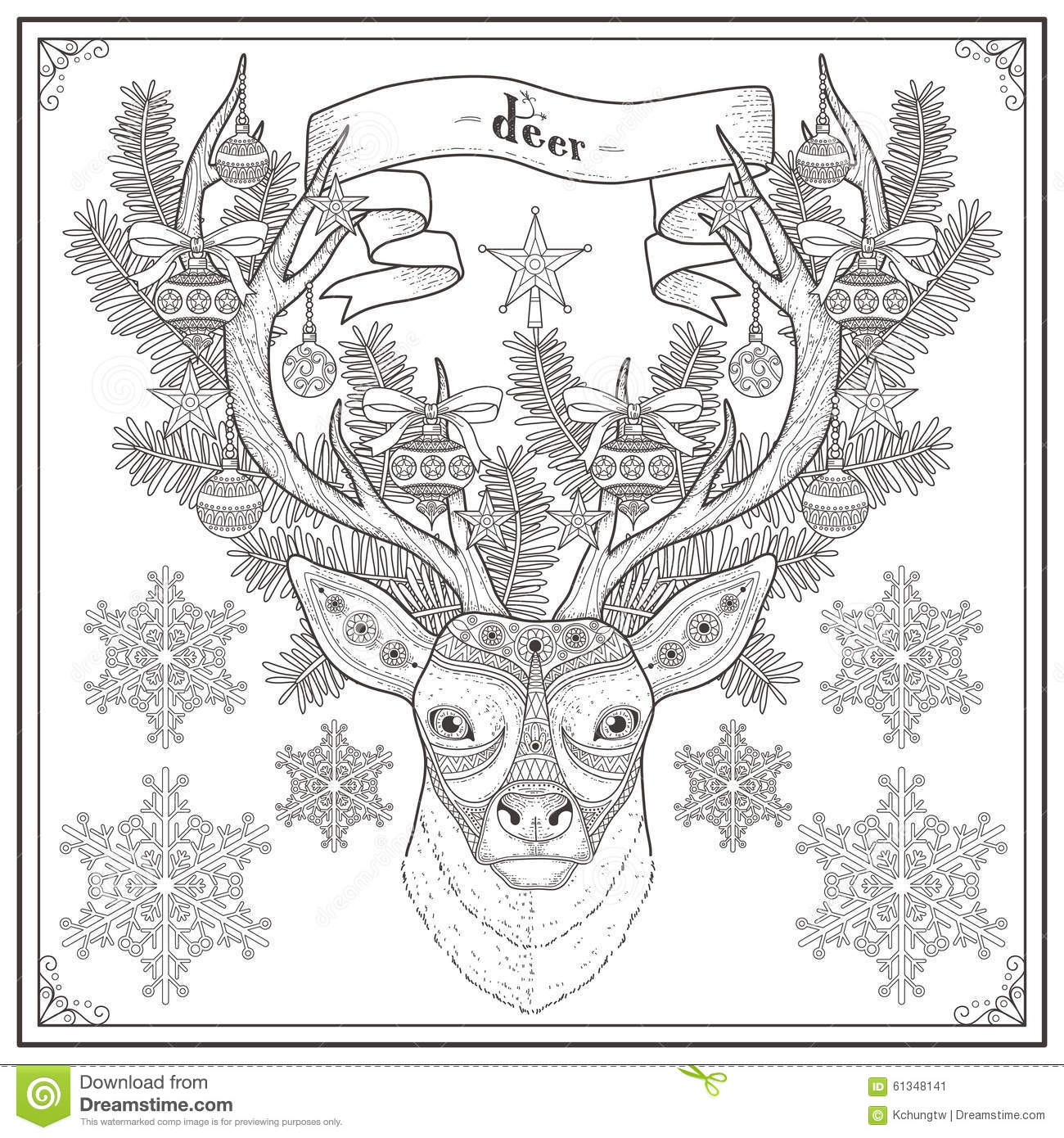 deer coloring page stock vector image 61348141