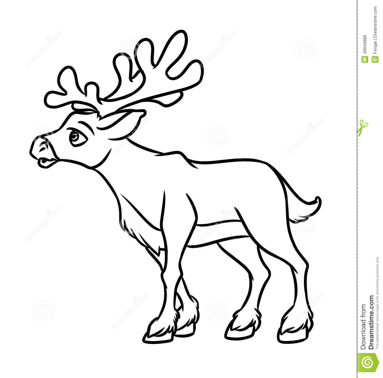Contour Line Drawing Animal : Deer contour coloring page stock illustration image