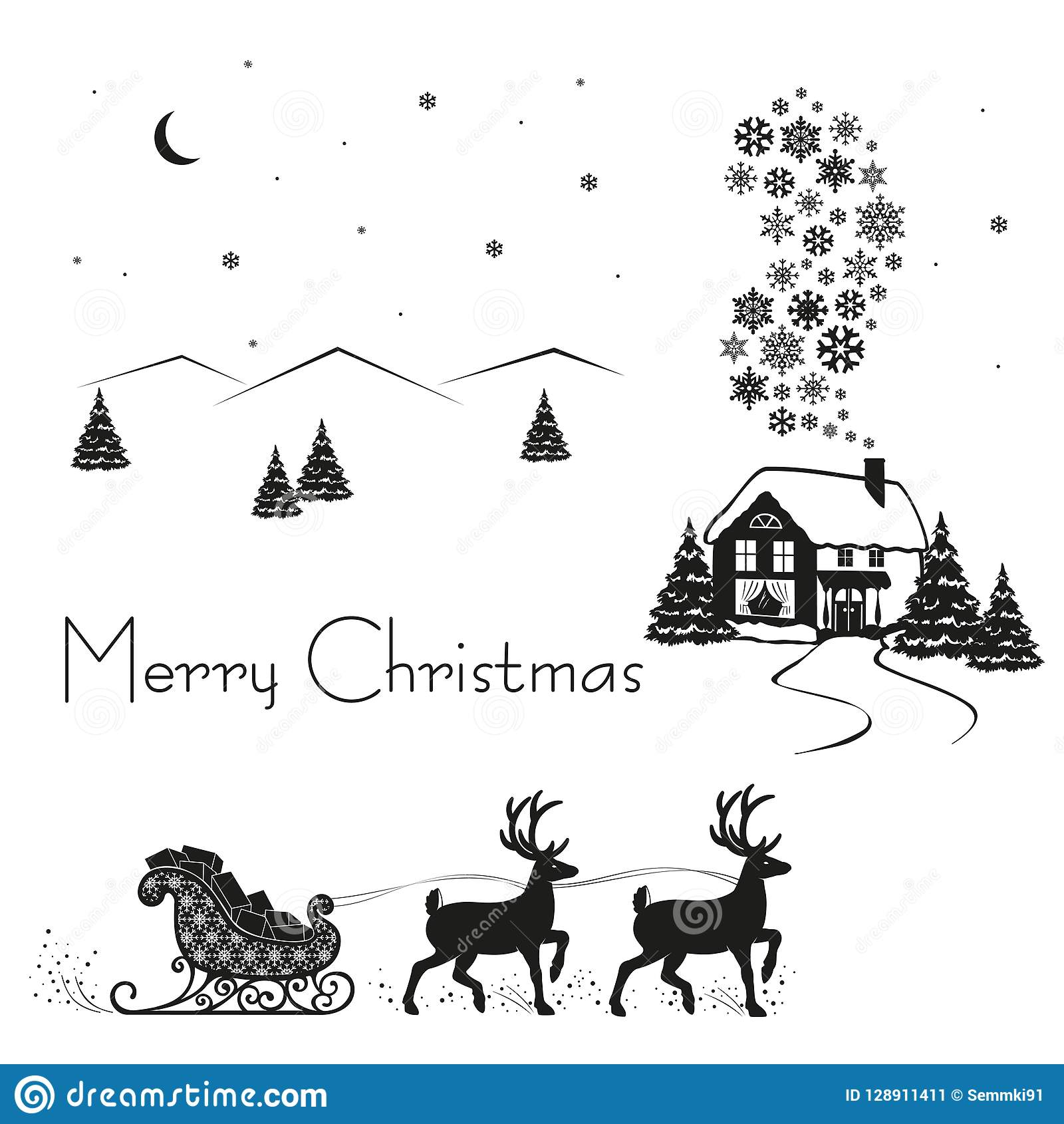 Deer driven sledge of santa claus with gifts black silhouette on white snow vector