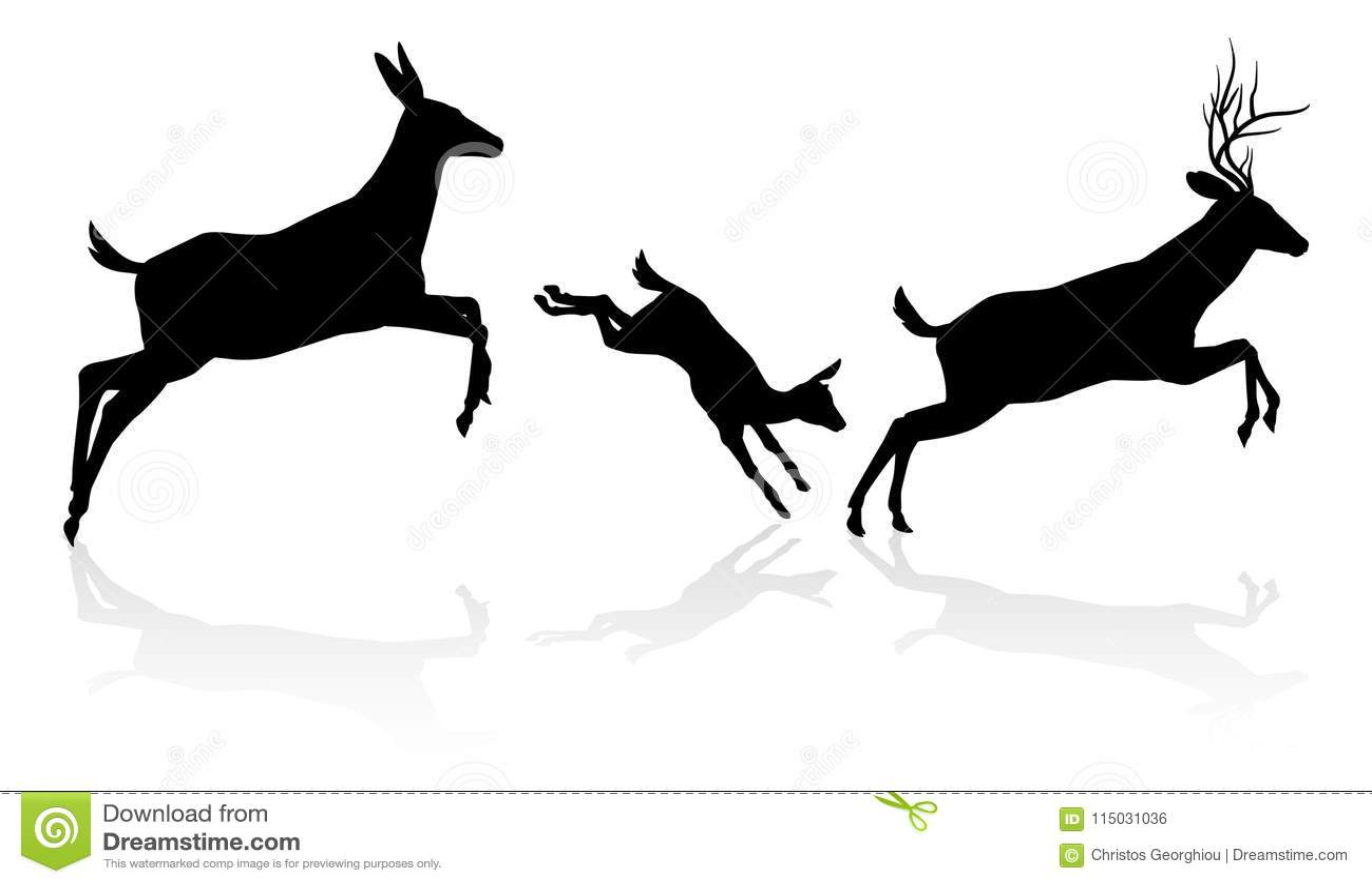 Deer Family Silhouette Stock Vector Illustration Of Antler 115031036