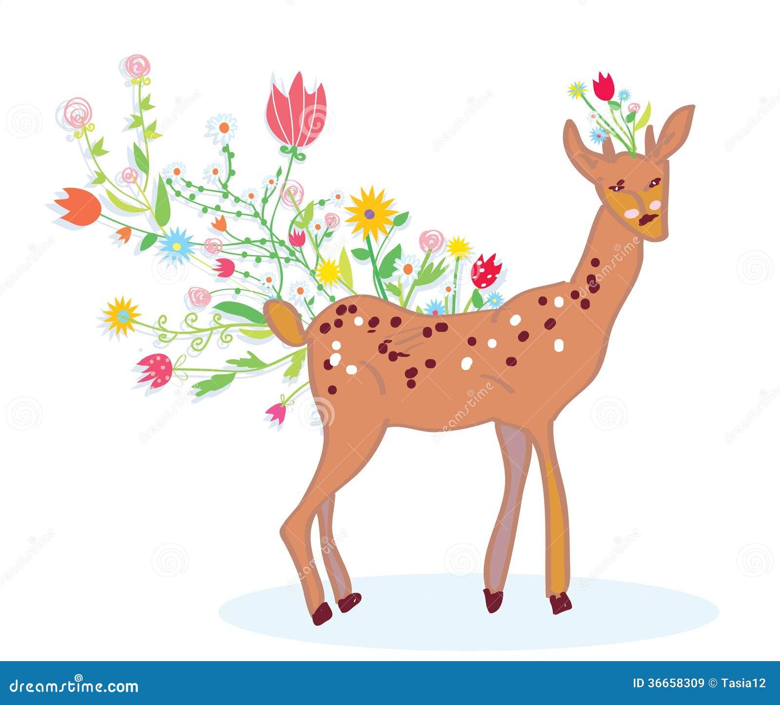 Cute spring flower - Deer And Flower Spring Background Cute