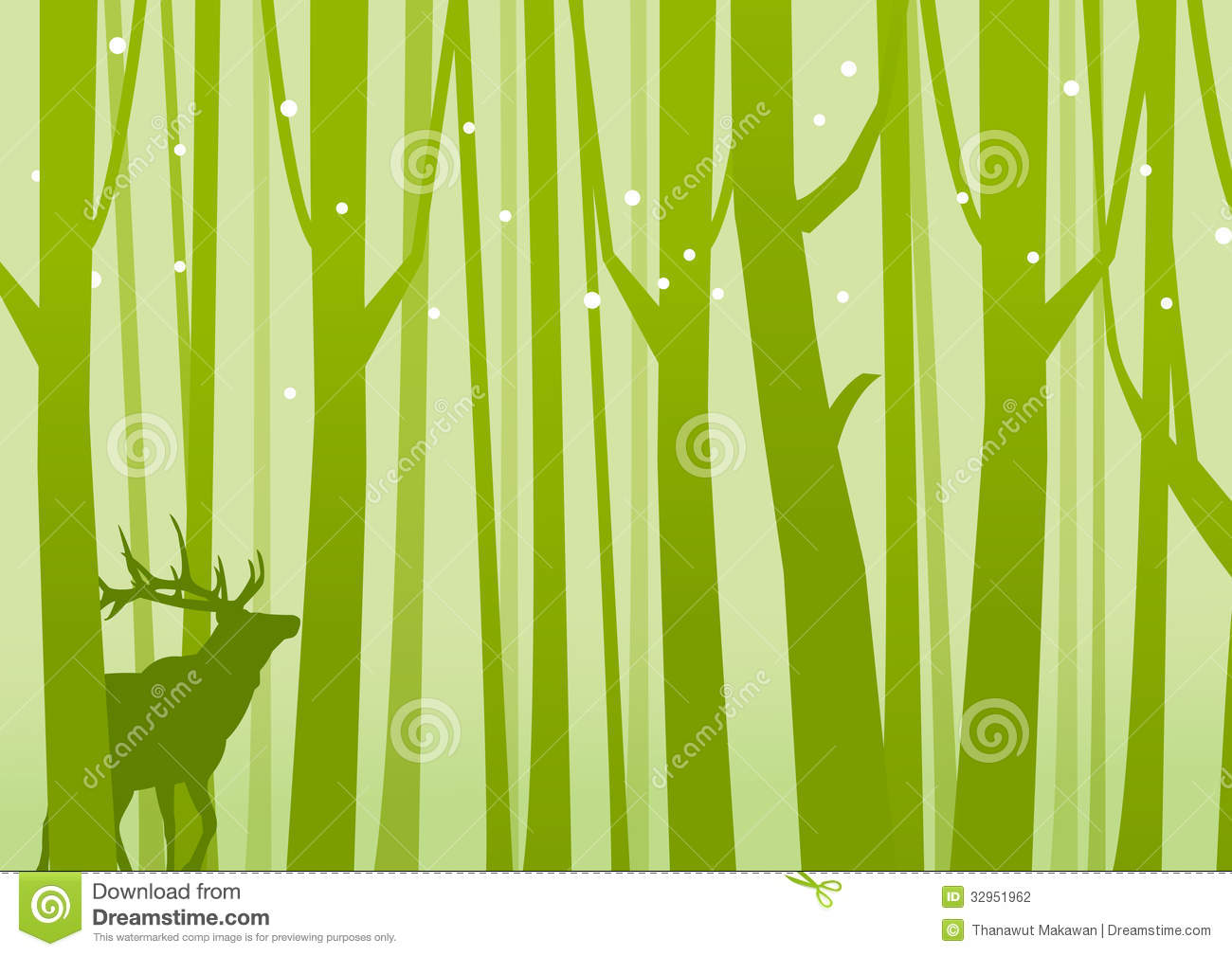Deer in forest green deer on a background of forest green vector