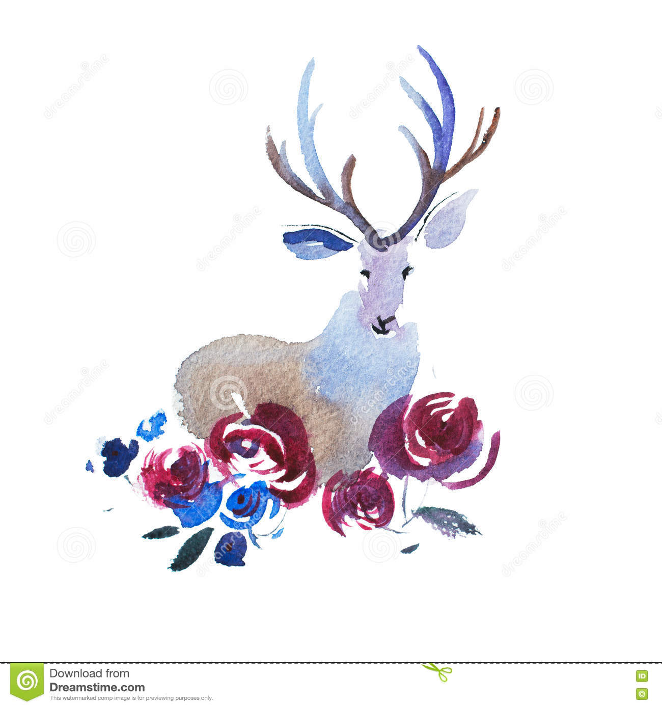 a37cc2290 Deer Head With A Bouquet Of Flowers. Watercolor Illustration. Stock ...