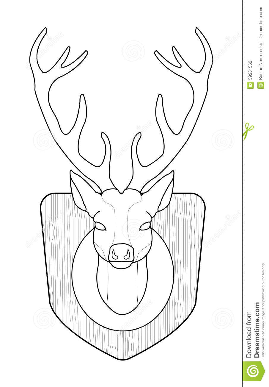 Deer Contour Line Drawing : Deer head contour stock vector illustration of icon