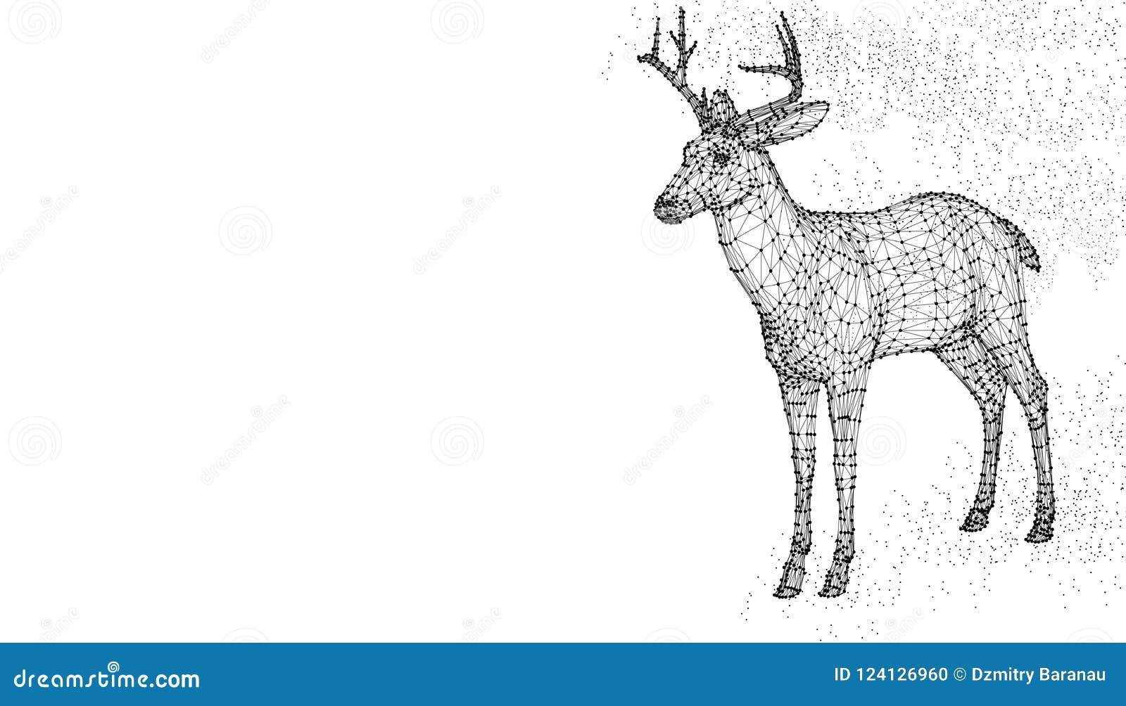 Deer Head 3d Vector Illustration Animal  Abstract Wirframe Polygon