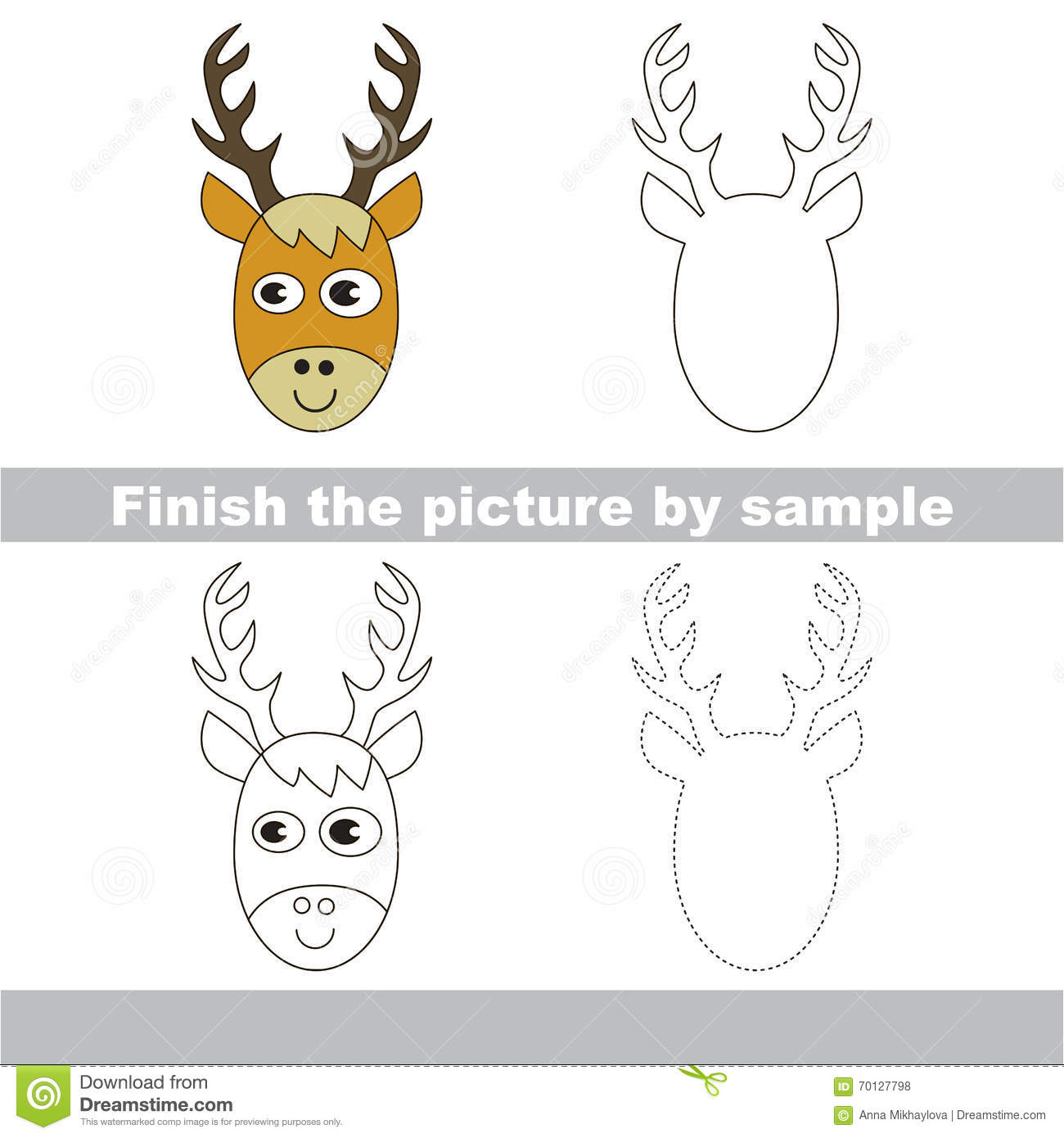Deer head drawing worksheet