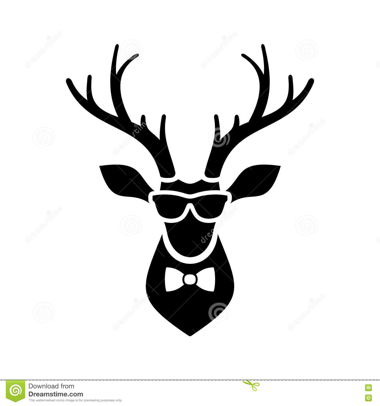deer head icon with hipster sunglasses and bow tie stock