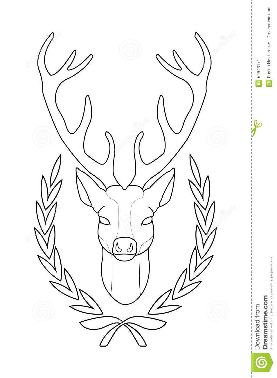 Deer Contour Line Drawing : Deer head in laurel wreath contour stock vector