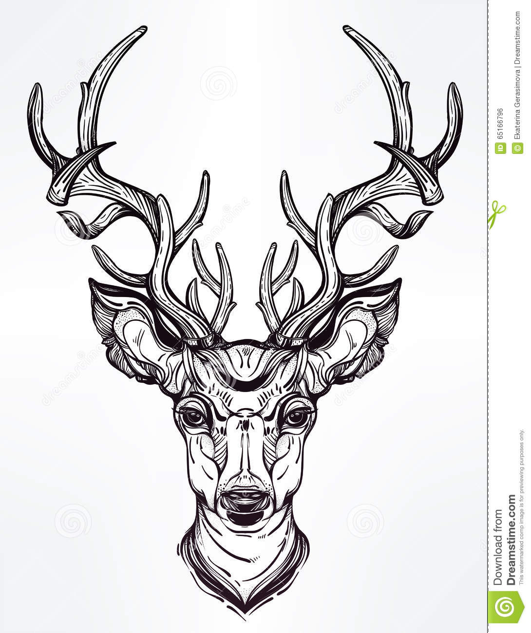Deer Head In Line Art Style Stock Vector Illustration