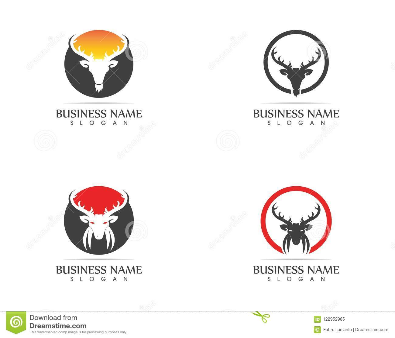 Deer Head Silhouette Logo Design Template Stock Vector ...