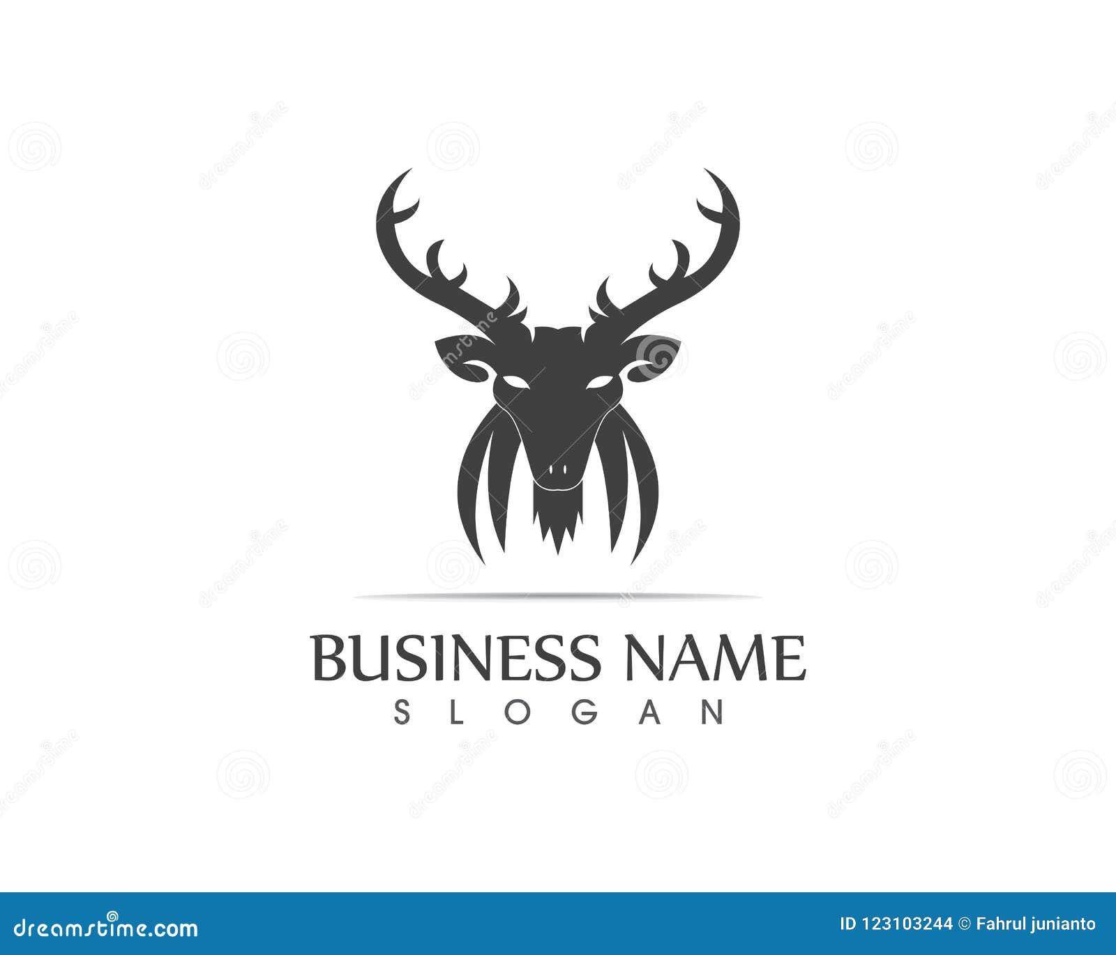 Deer Head Silhouette Logo Design Template Stock Vector