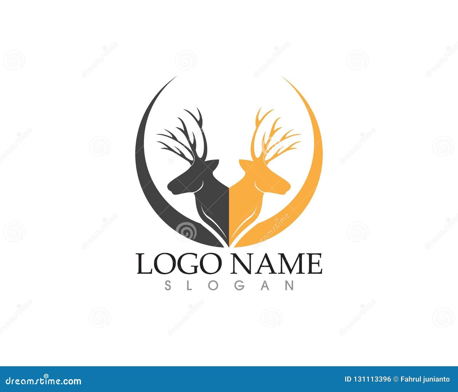 Deer Head Silhouette Logo Vector Stock Vector - Illustration of