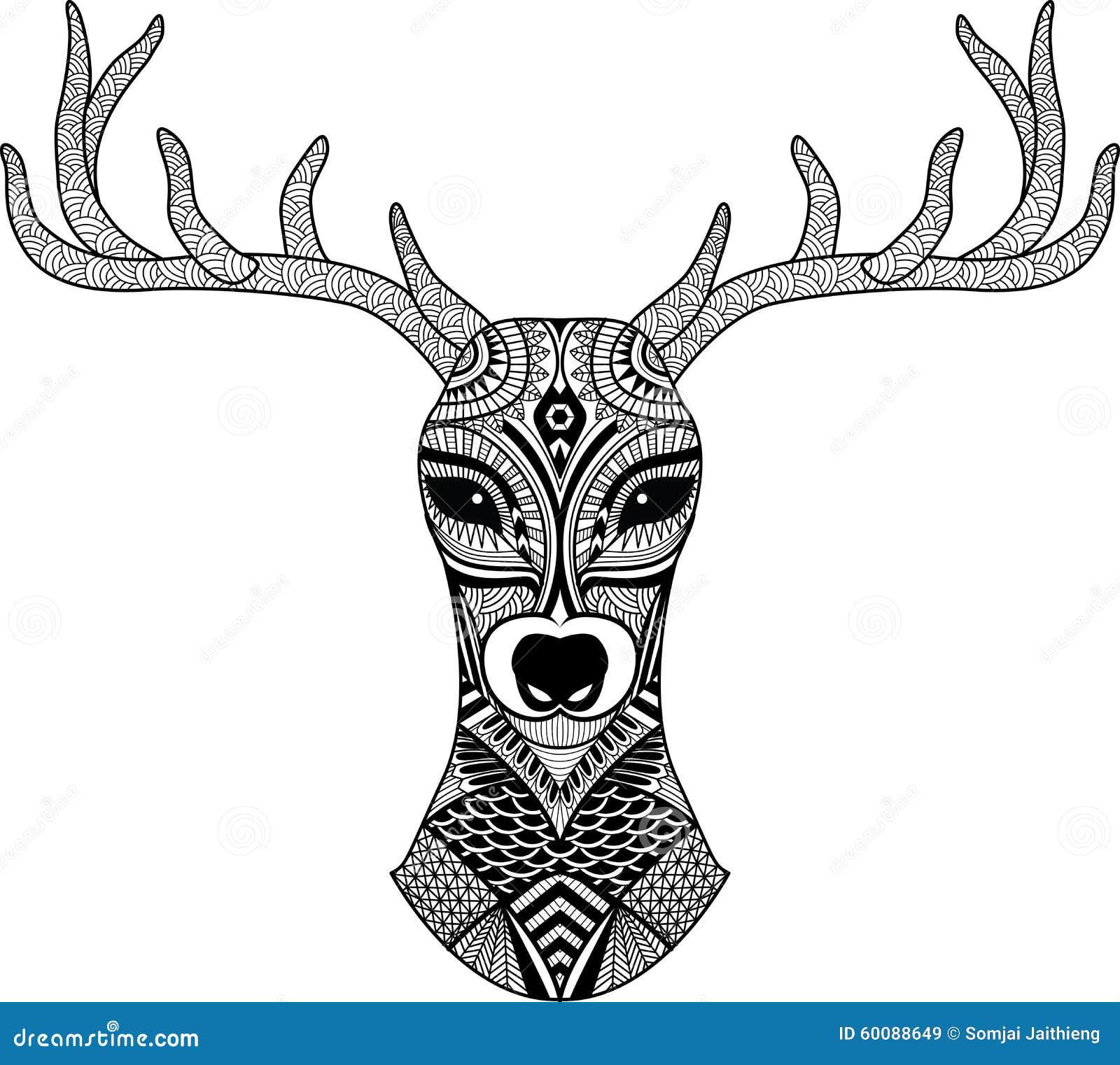 deer head stylized in zentangle style tribal tattoo design vector stock vector illustration. Black Bedroom Furniture Sets. Home Design Ideas
