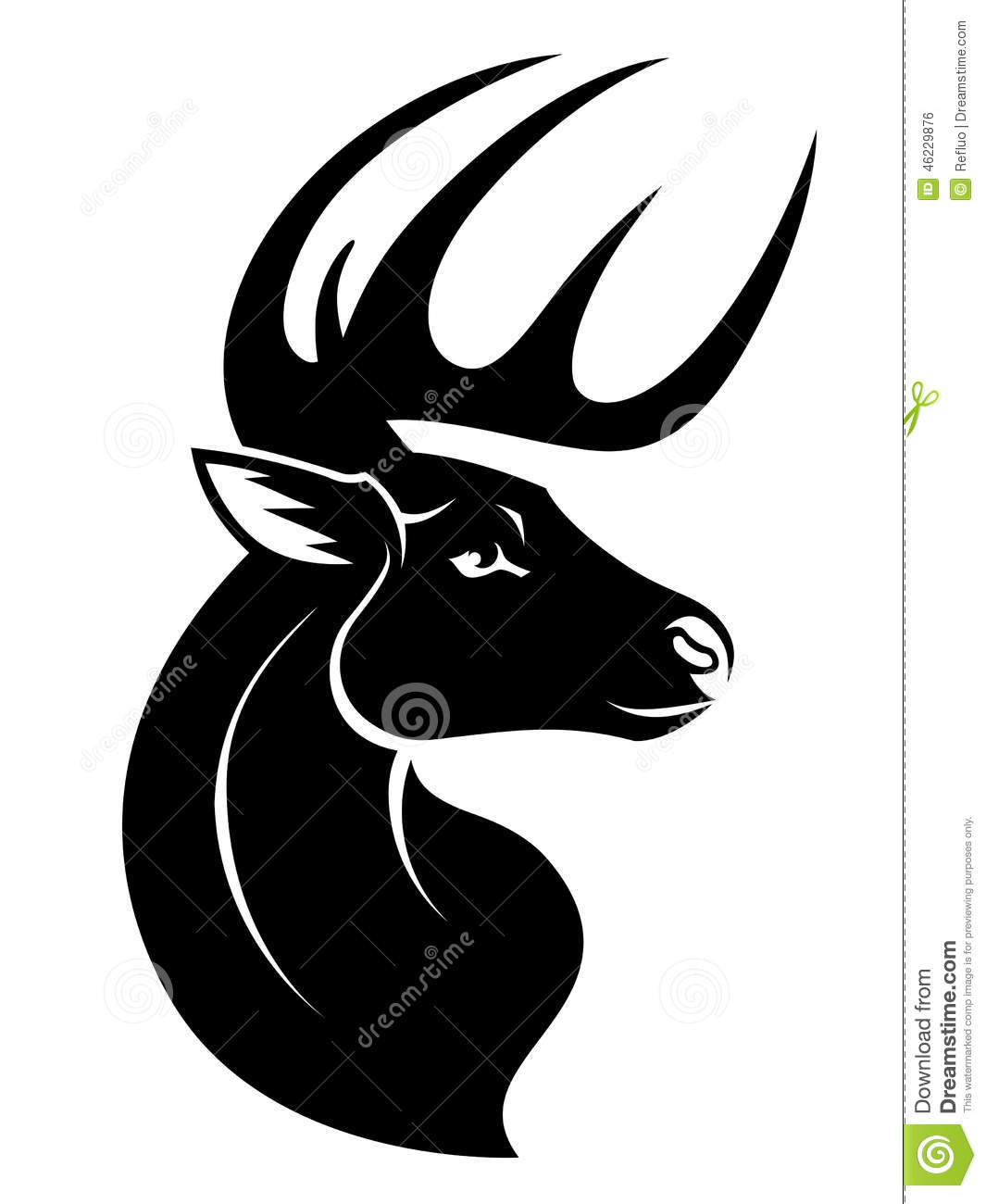 Stylized head of serious deer isolated on white background.