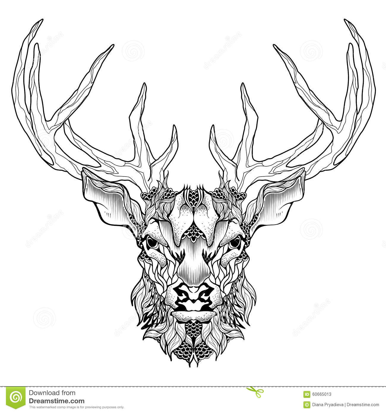 deer head tattoo psychedelic zentangle style stock. Black Bedroom Furniture Sets. Home Design Ideas