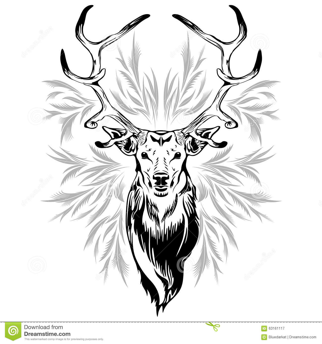Tato Art Styles: Deer Head Tattoo Style Stock Image. Image Of Head, Deer