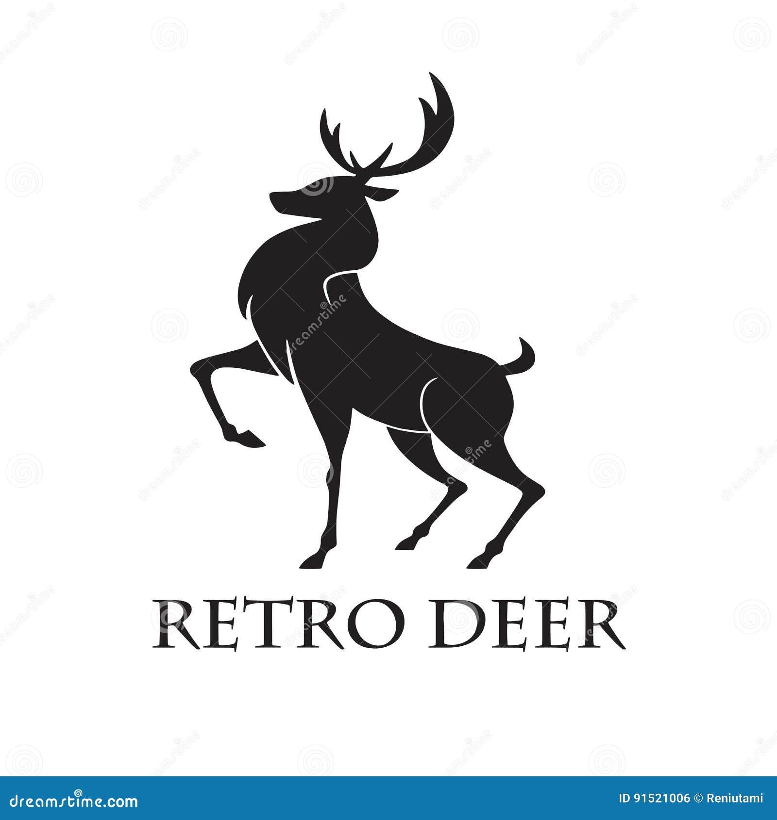 Deer Logo Retro Vector Illustration Template