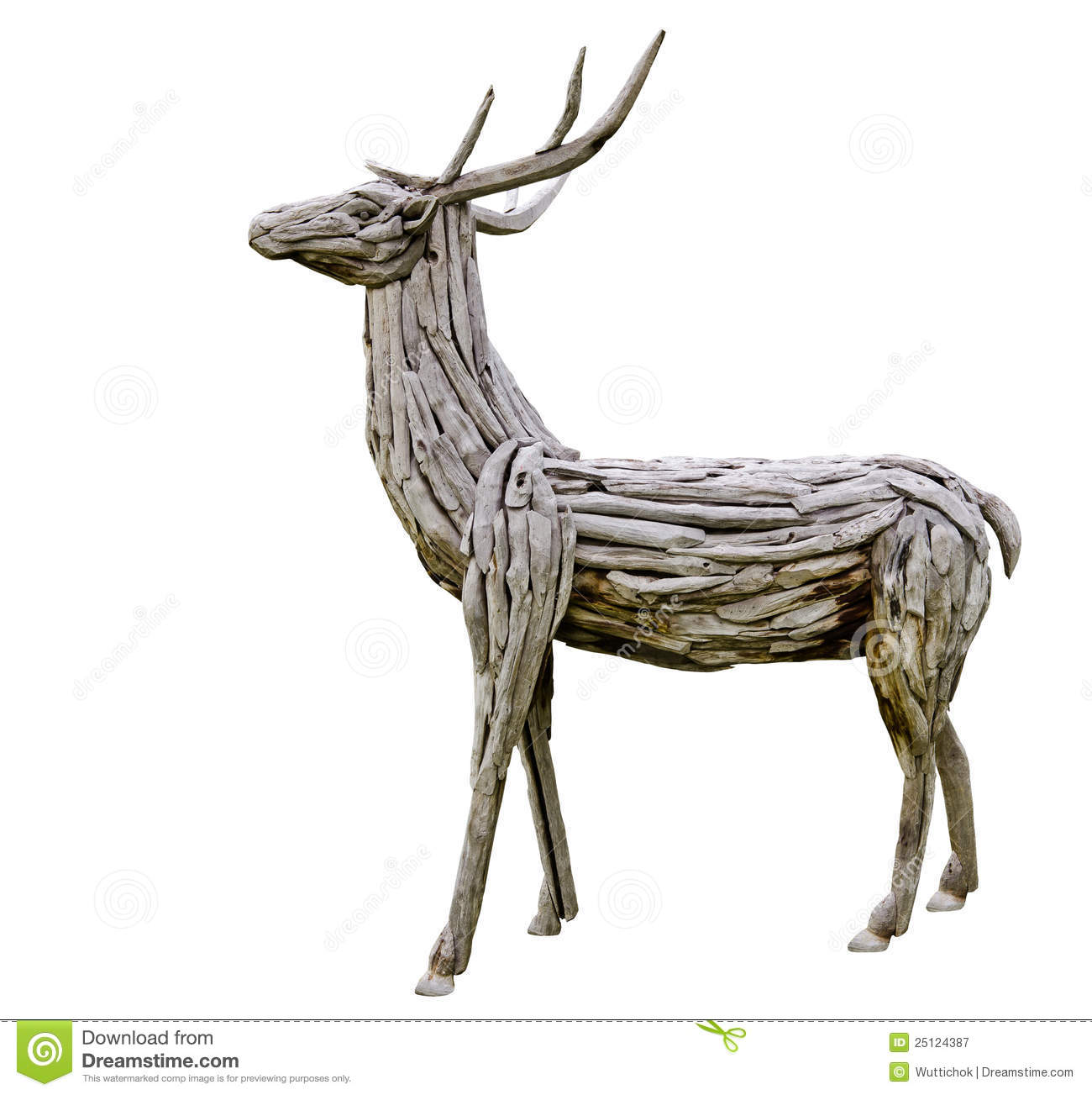 Deer Made From Wood Royalty Free Stock Photography - Image: 25124387
