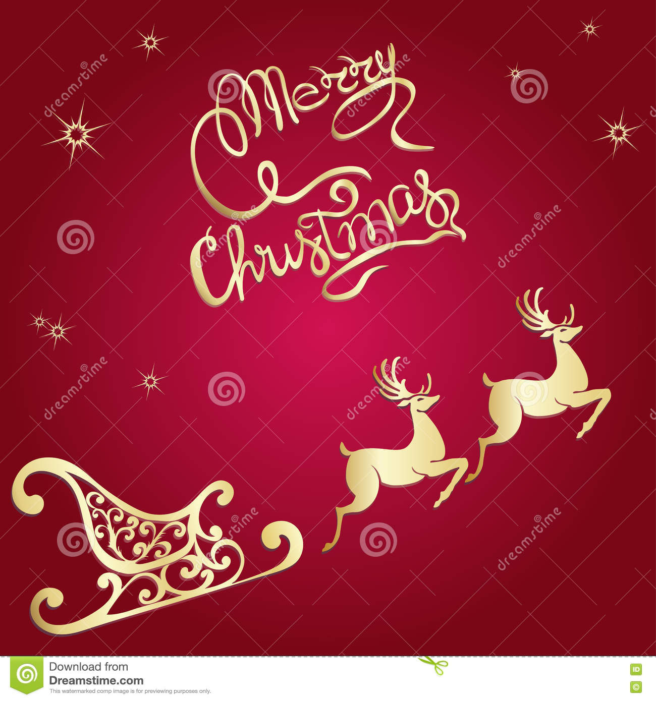 Deer Merry Christmas Poster Template Stock Vector - Illustration of ...
