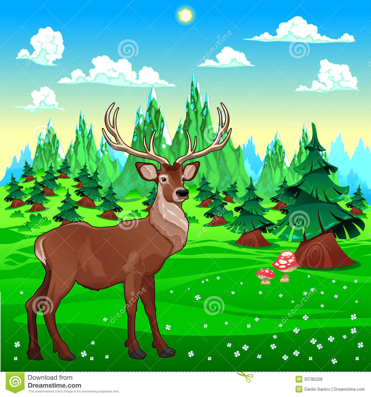Landscape Illustration Vector Free: Deer In Mountain Landscape. Royalty Free Stock Photos