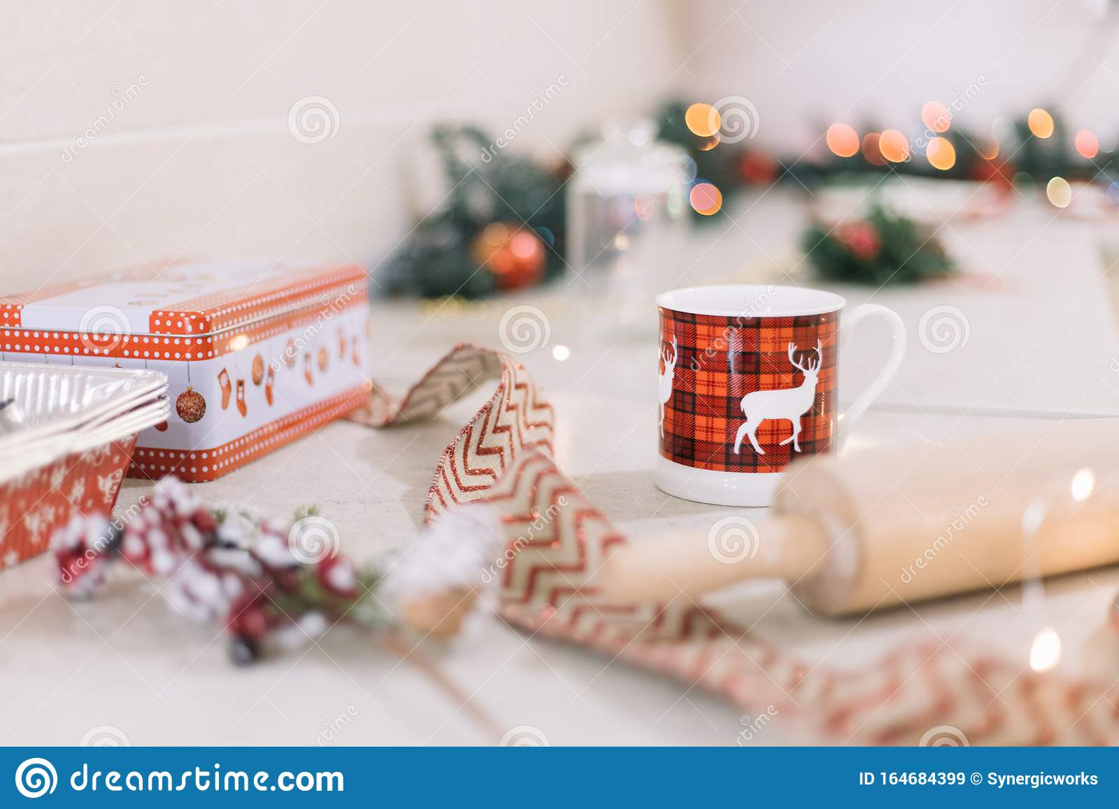 Deer Mug On Decorated Kitchen Bar For Christmas Stock Image Image Of Beautiful Background 164684399