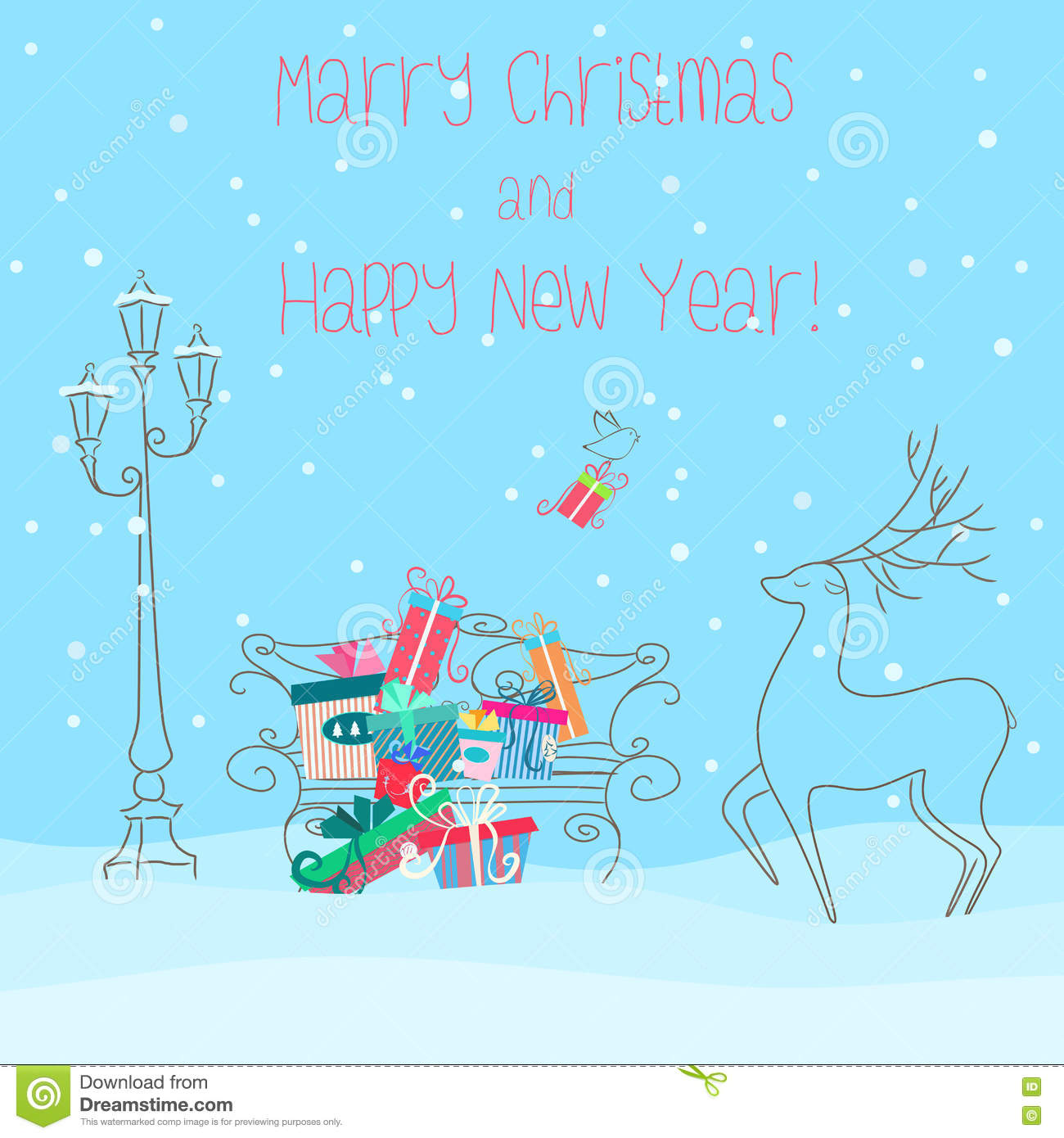 Deer Near Bench Full Of Presents Gifts Happy New Year 2017 Greeting