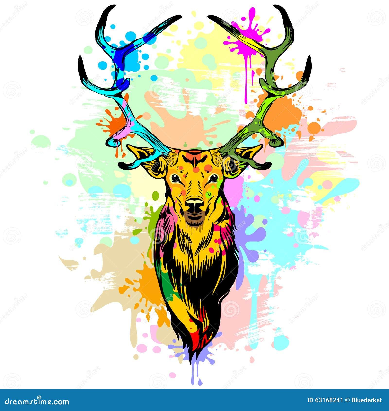 Deer Pop Art Dripping Paint Stock Vector Image 63168241