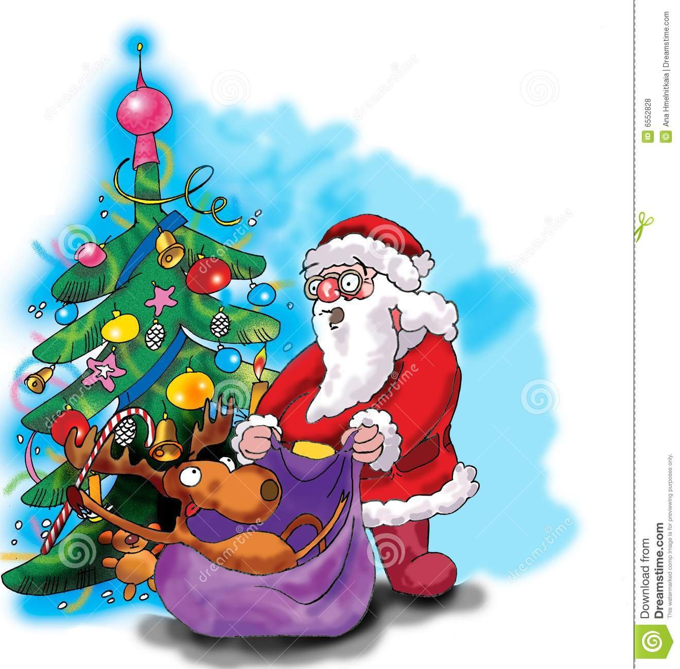 Deer, Santa Claus And Christmas Tree Stock Vector ...