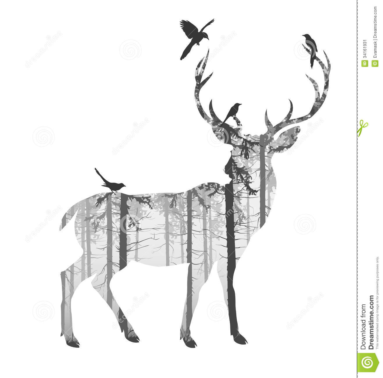 Deer illustration black and white - photo#3
