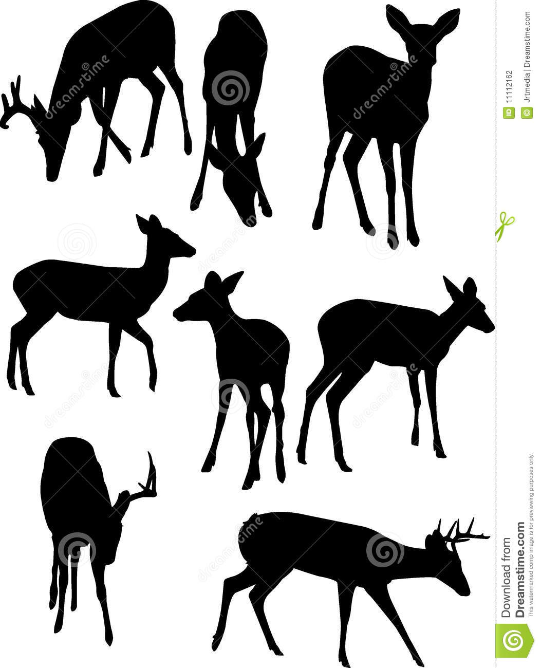 vector illustration of some whitetail deer silhouettes isolated over ...