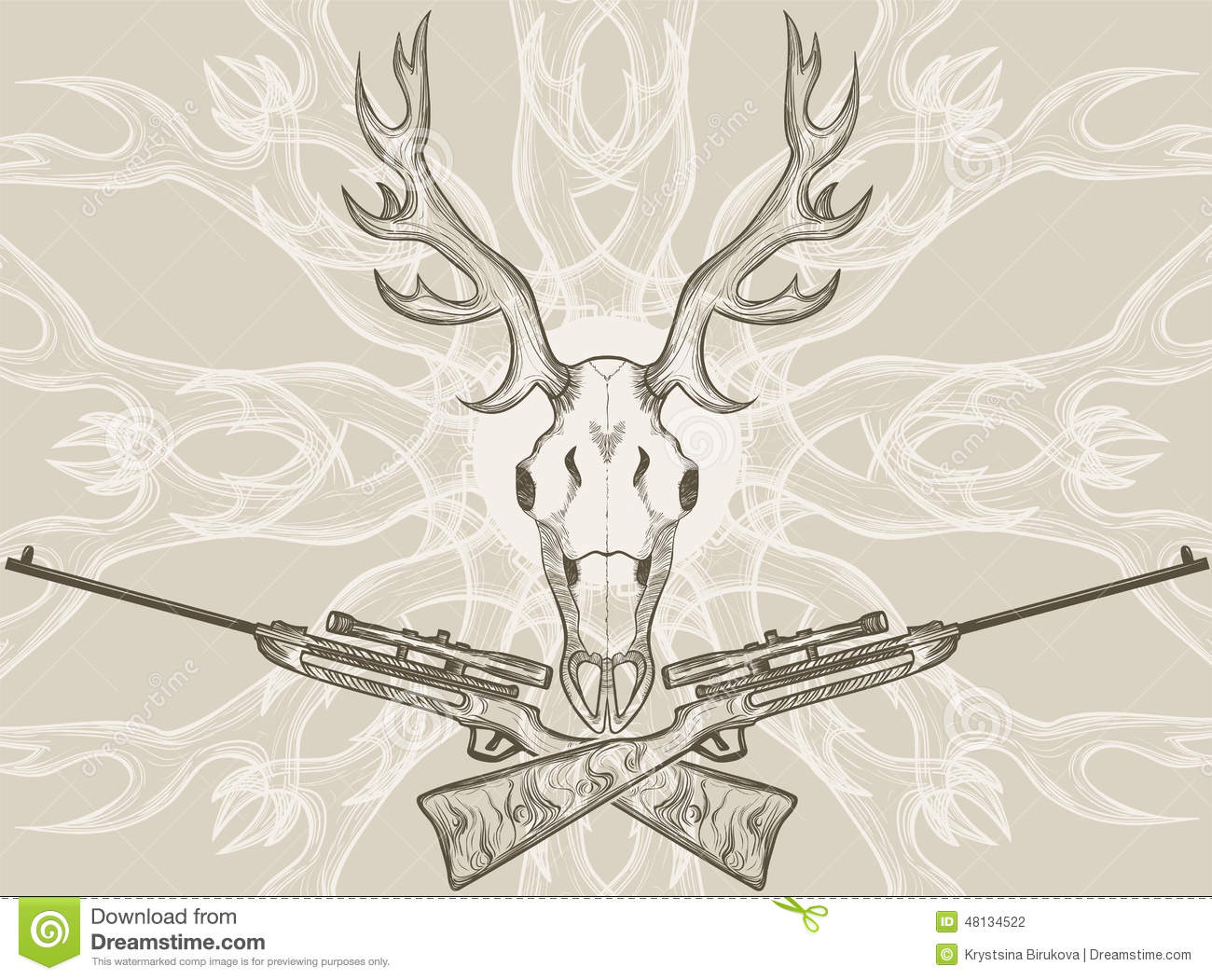 Deer Skull And Crossed Rifles Stock Vector - Illustration of anatomy ...