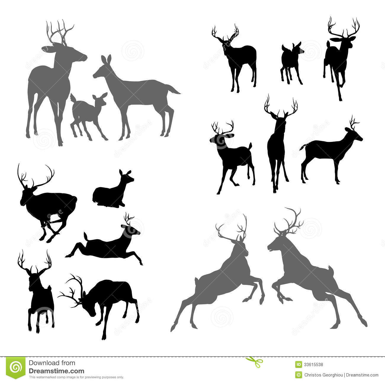 Deer Stag Fawn And Doe Silhouettes Stock Illustration
