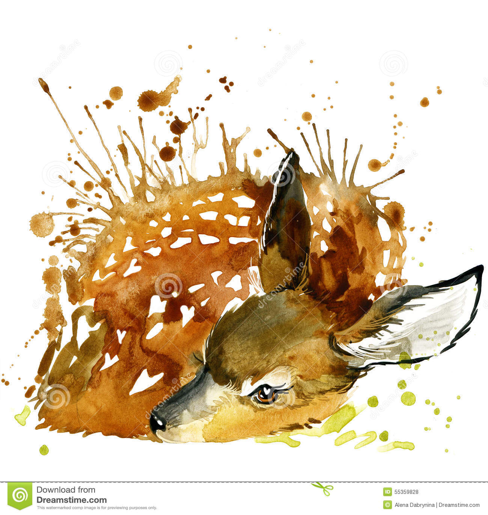 Deer T-shirt graphics, deer illustration with splash watercolor textured background.