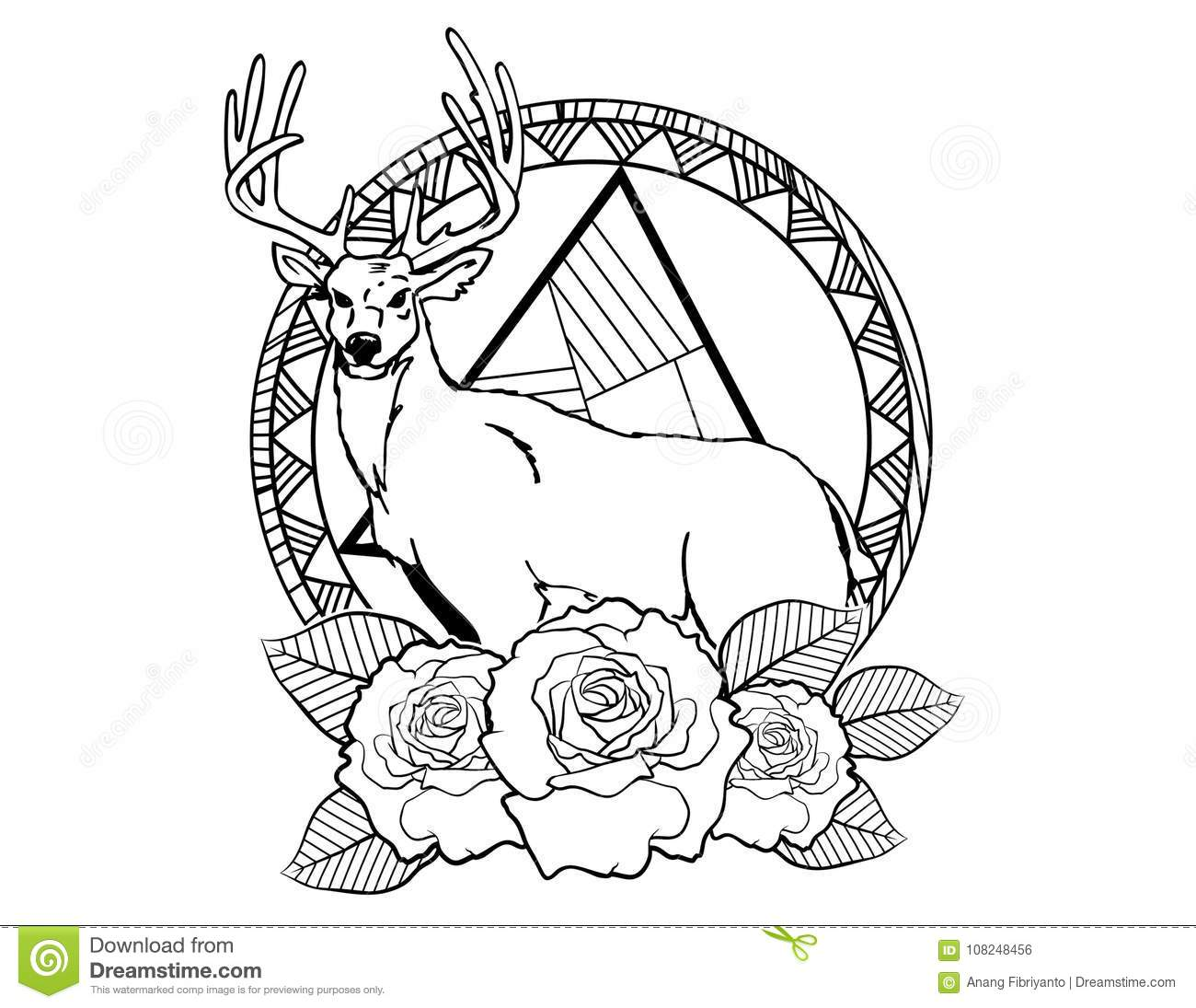 Deer Tattoo Sketch With Roses And Leafes Vintage Neo