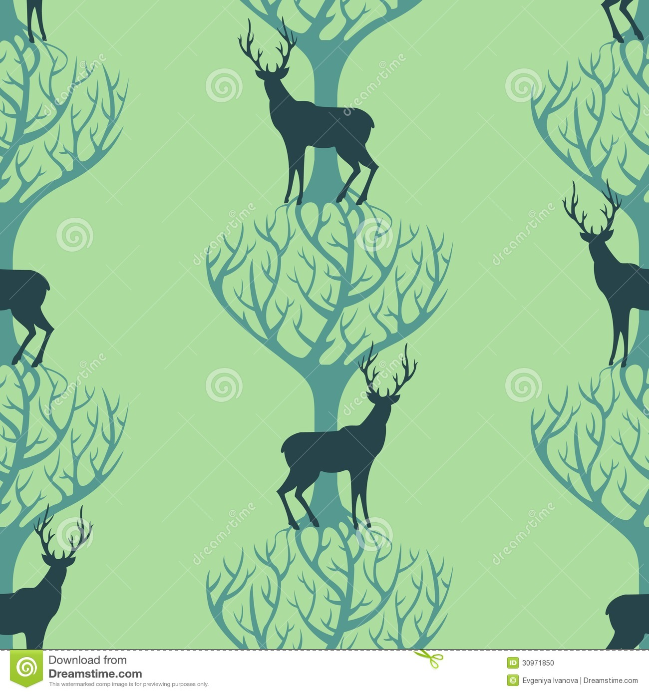 Deer And Tree Pattern Stock Photo Image 30971850
