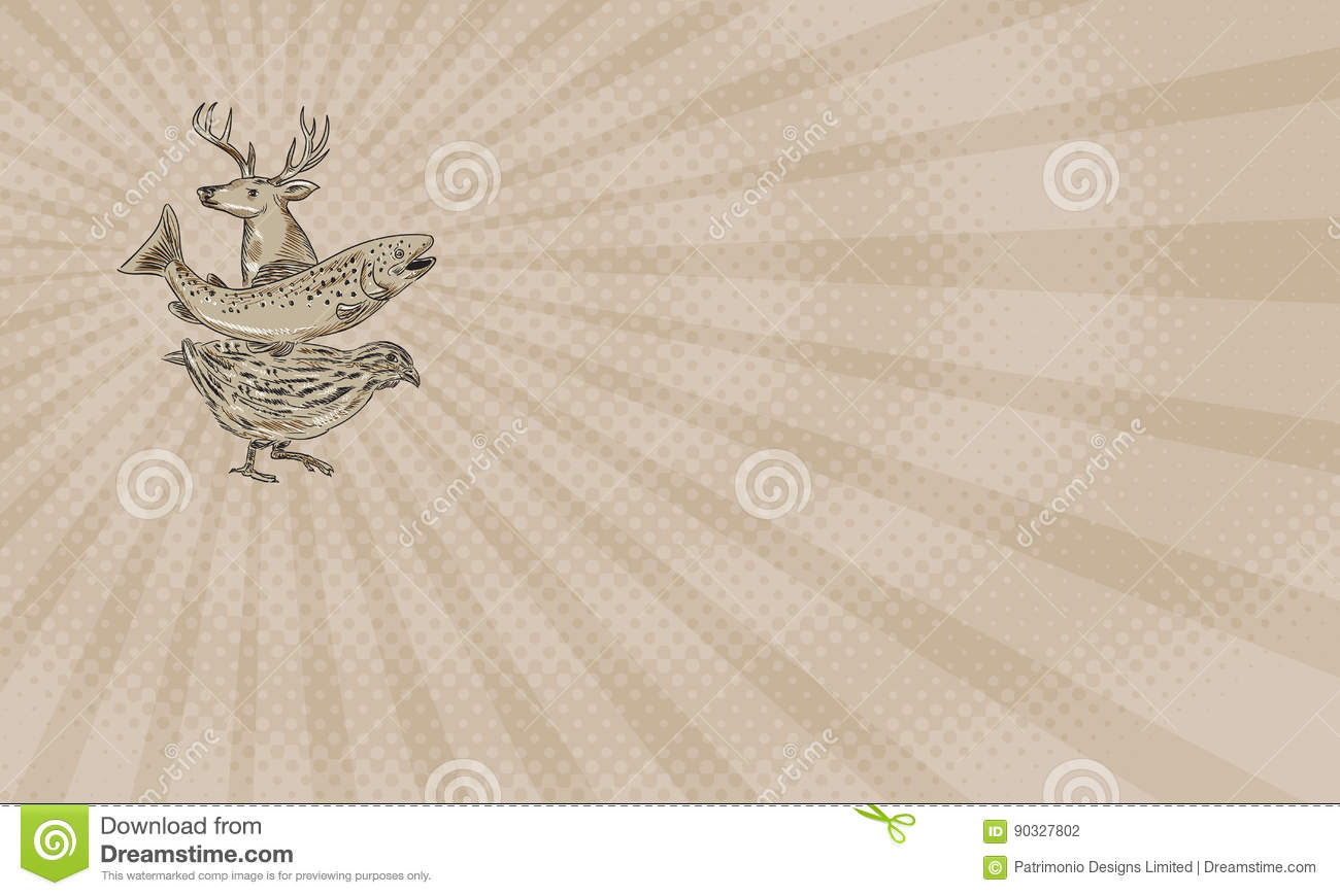 Deer trout quail farm business card stock illustration image deer trout quail farm business card magicingreecefo Choice Image