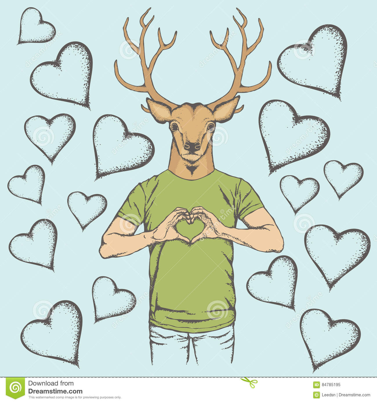 Deer Valentine Day Vector Concept Stock Vector - Illustration of ...