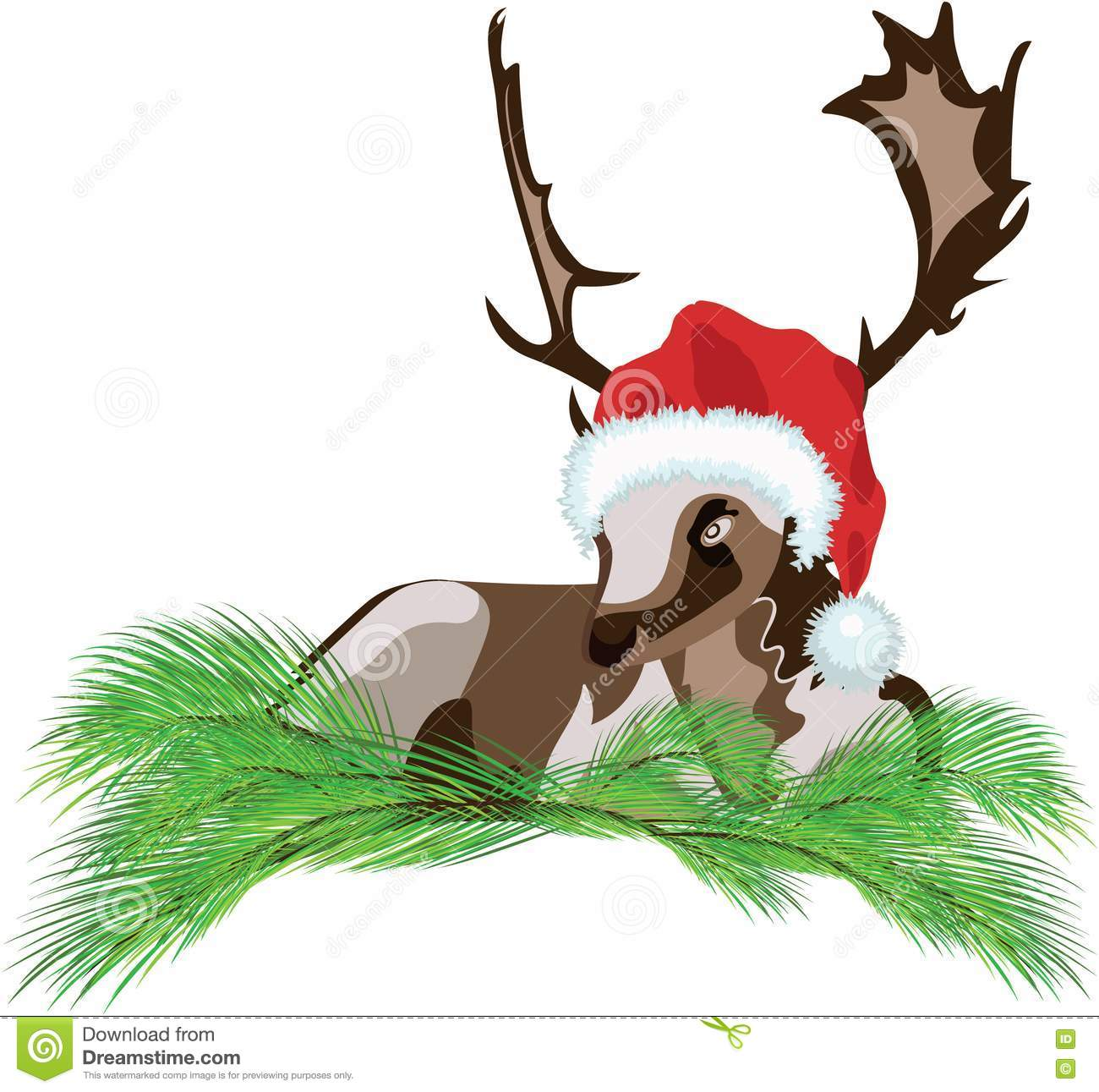 Christmas Lettering Badge On White Background: Deer Wearing A Santa Claus Hat Stock Vector
