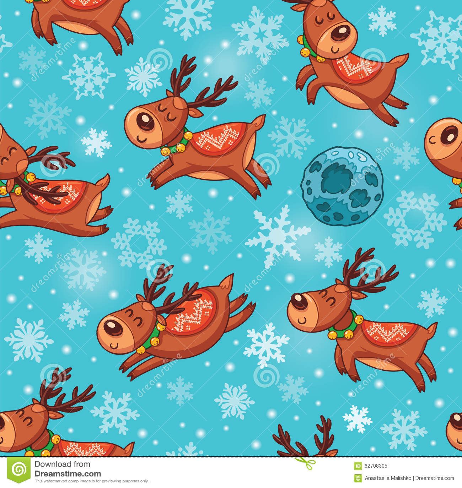 Deers Χριστουγέννων στο άνευ ραφής σχέδιο κινούμενων σχεδίων