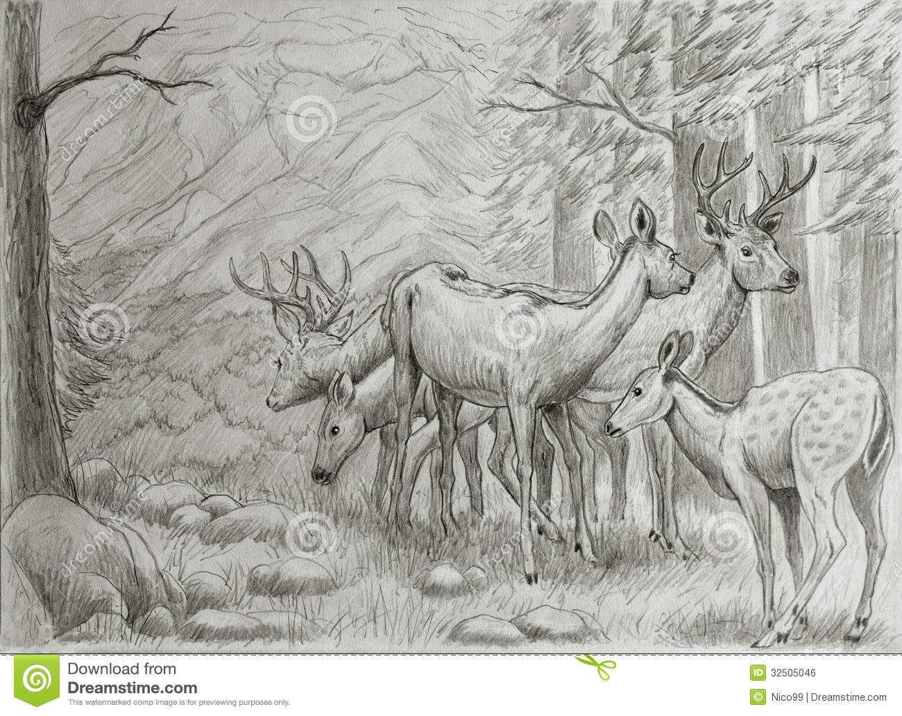 Deers Family Royalty Free Stock Image