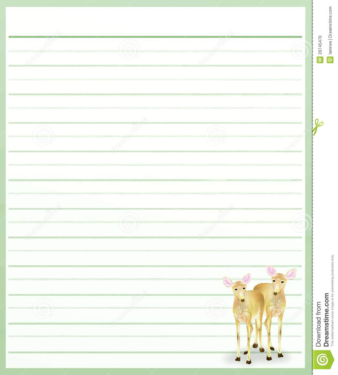 Deers On Green Color Lined Paper  Lined Paper Background For Word