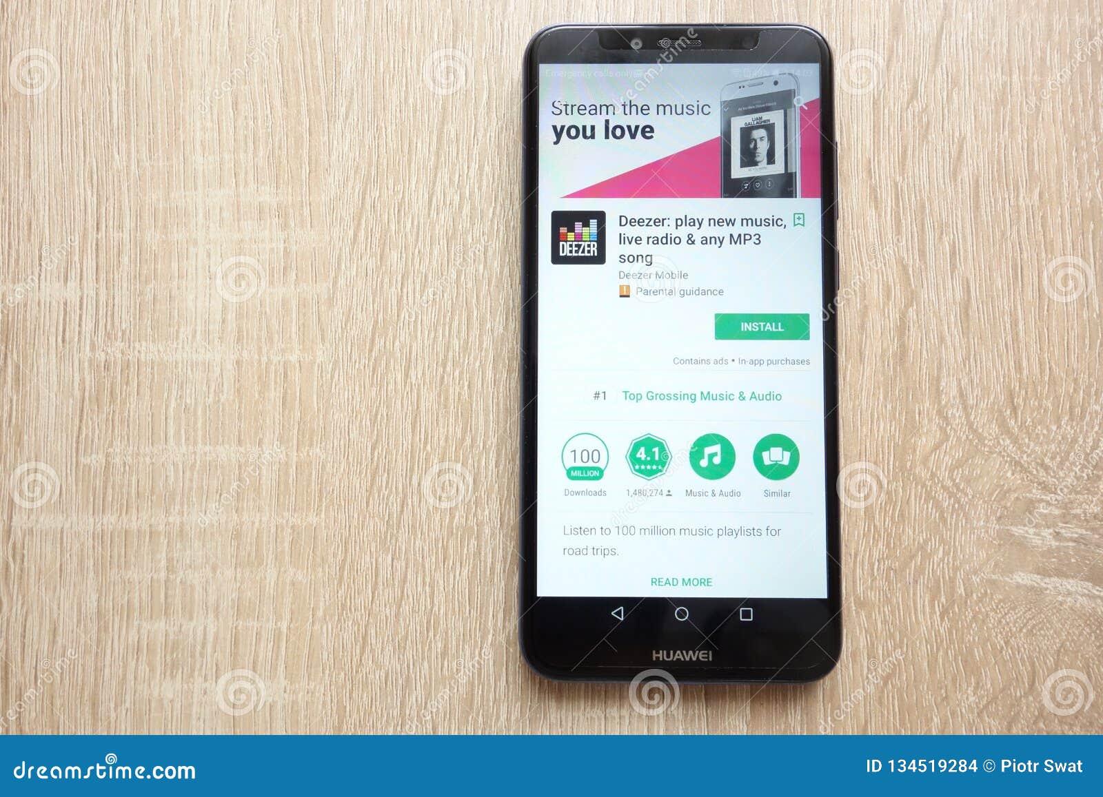 Deezer App On Google Play Store Website Displayed On Huawei