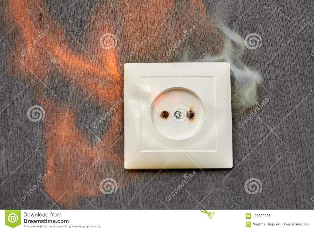Defective Wiring Fire Plastic Wall Outlet Stock Image Of A Receptacle