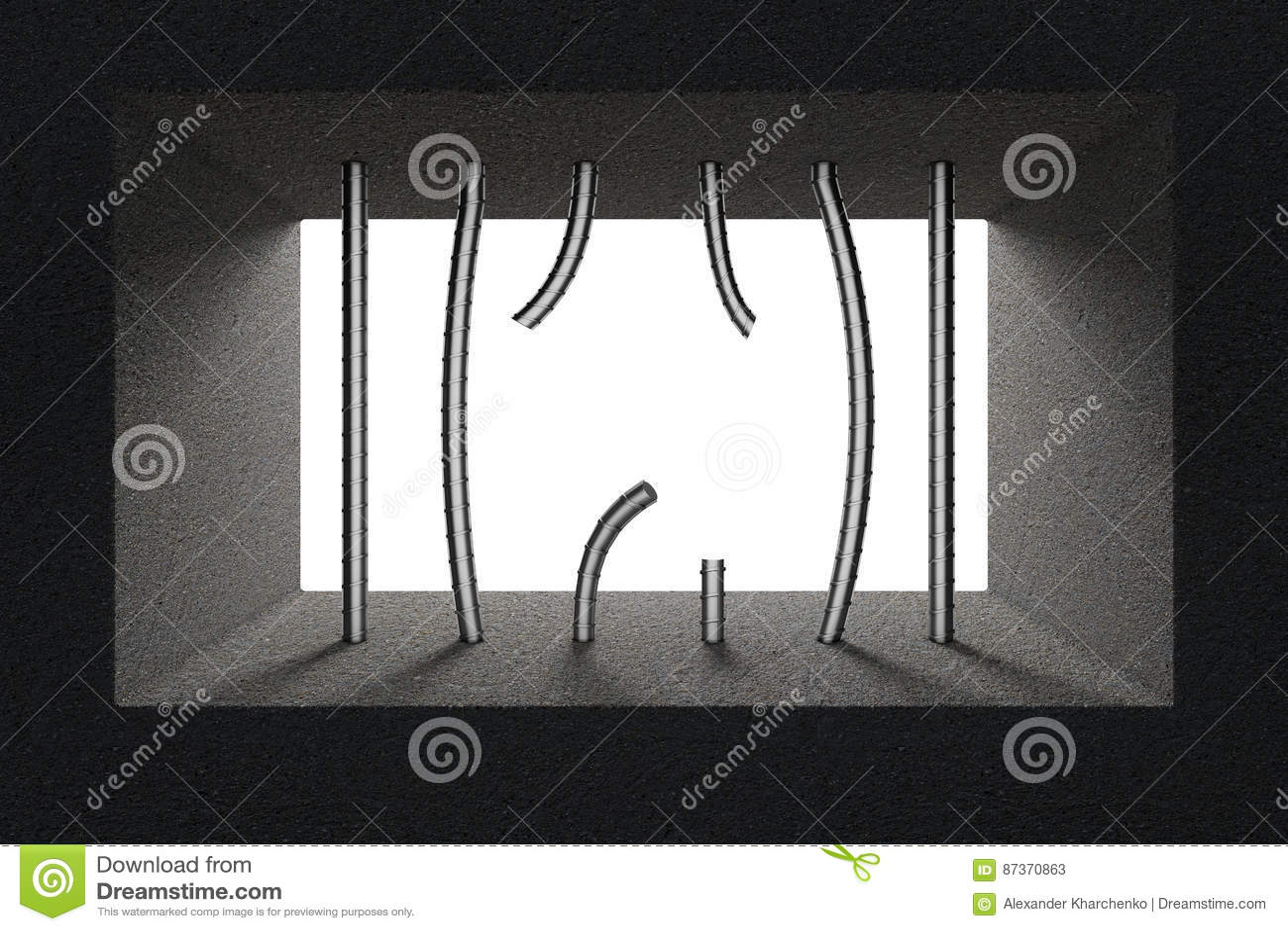 Defekte Gefängnis-Stangen Im Gefängnis-Fenster Wiedergabe 3d Stock ...